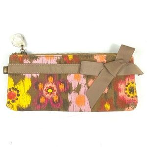 Lindsay Phillips floral canvas cosmetics bag w bow